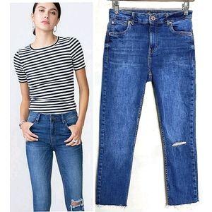Bershka Skinny Jeans Cropped Denim Destruction 6